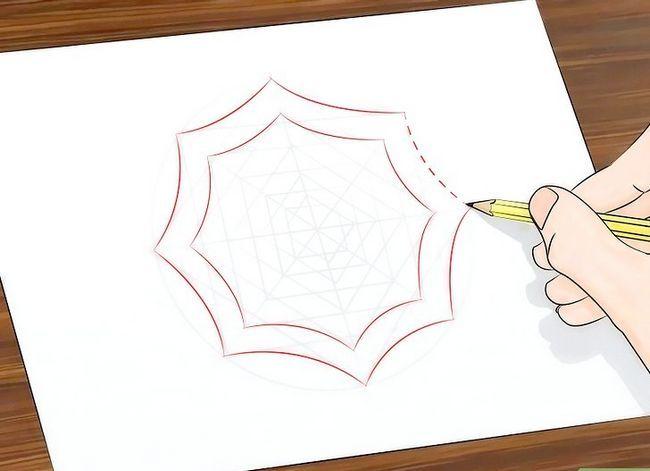 Prent getiteld Teken `n Spinnekop Web Stap 14