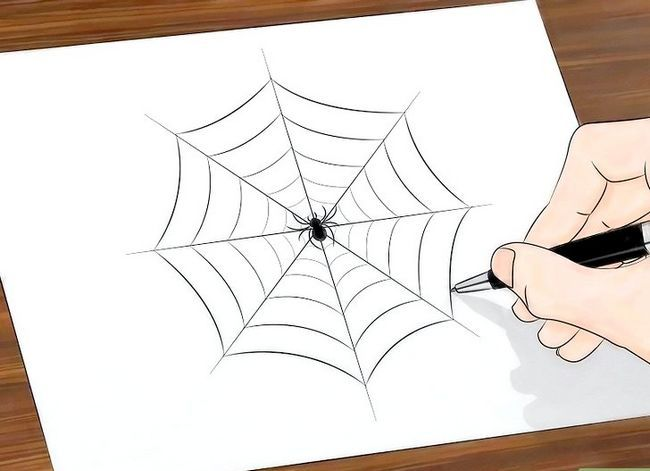 Prent getiteld Teken `n Spinnekop Web Stap 15