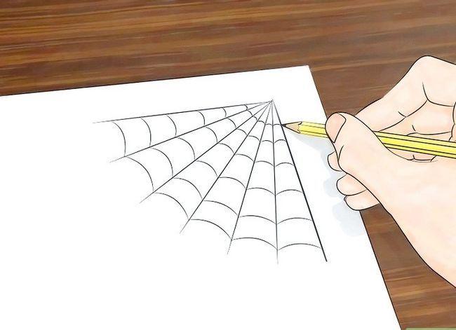 Prent getiteld Teken `n Spinnekop Web Stap 3
