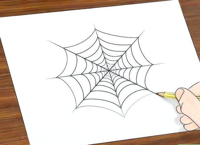 Prent getiteld Teken `n Spinnekop Web Stap 7