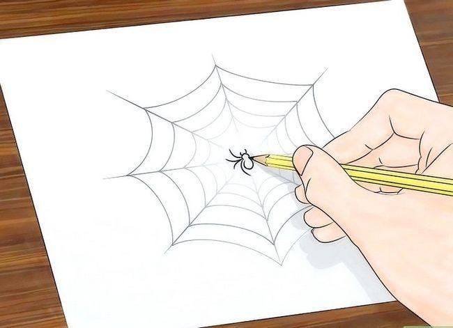 Prent getiteld Teken `n Spinnekop Web Stap 8