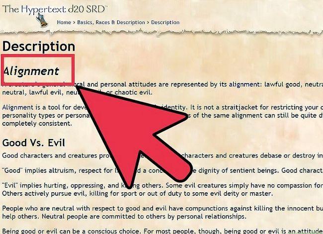 Prent getiteld Kies en Korrekt Rol Speel Jou Belyning in Dungeons and Dragons V3.5 Stap 1