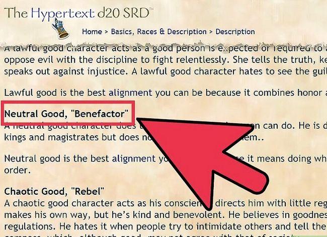 Prent getiteld Kies en Korrekt Rol Speel Jou Belyning in Dungeons and Dragons V3.5 Stap 4
