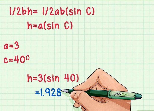 Prent getitel Vind die hoogte van `n driehoek Stap 11