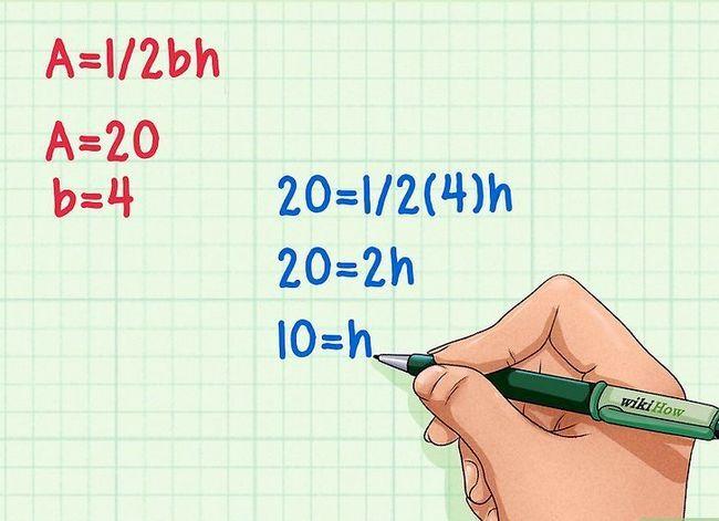 Prent getitel Vind die hoogte van `n driehoek Stap 3