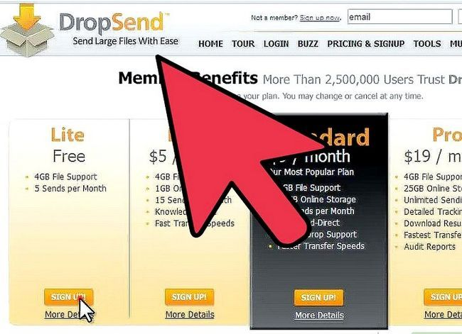 Prent getiteld Stuur groot video lêers met DropSend.com Stap 1