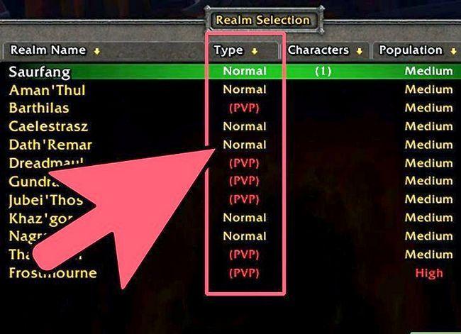 Prent getiteld Kies die Perfect Server_Realm vir World of Warcraft met Realm Pop Step 1