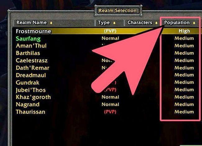 Prent getiteld Kies die Perfect Server_Realm vir World of Warcraft met Realm Pop Step 2