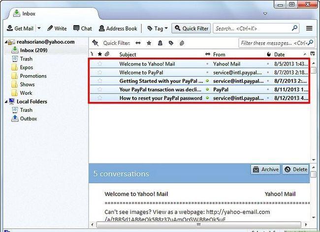 Prent getiteld Kry Thunderbird-e-posboodskappe in Outlook Stap 2