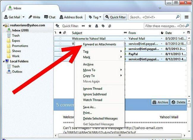 Prent getiteld Kry Thunderbird-e-posboodskappe in Outlook Stap 3