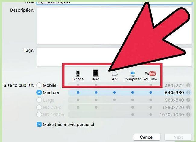 Prent getiteld Voer `n iMovie-video uit in HD Stap 11