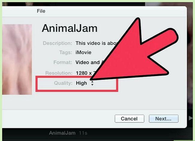 Prent getiteld Voer `n iMovie-video uit in HD Stap 10