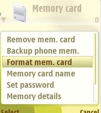 Prentjie Genoteerde geheue kaarte in `n Nokia N73 Stap 4