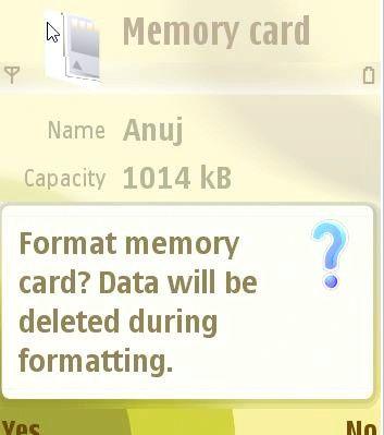 Prentjie Genoteerde geheue kaarte in `n Nokia N73 Stap 5