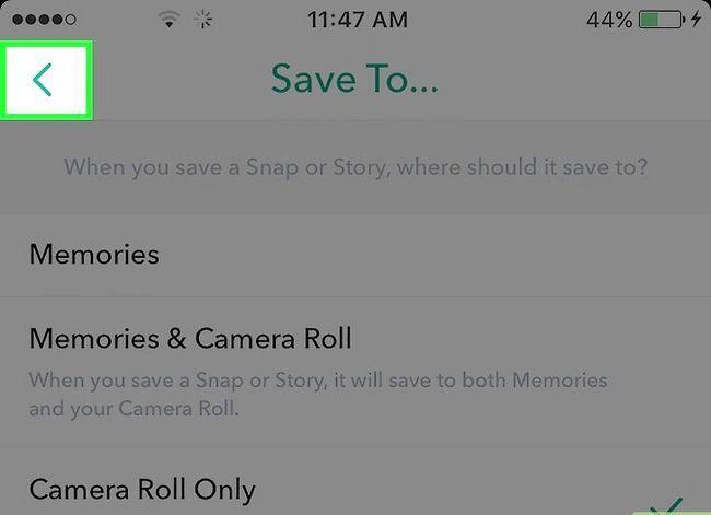 Beeld getiteld Stoor Snapchats na die Camera Roll Stap 7