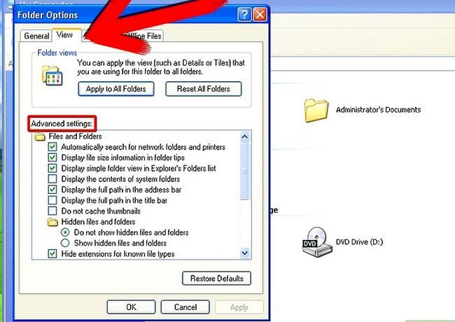 Prent getiteld Aktiveer versteek lêers en dopgehou in Windows Stap 4
