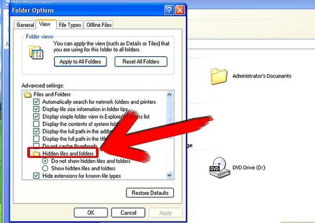 Prent getiteld Aktiveer versteek lêers en dopgehou in Windows Stap 5