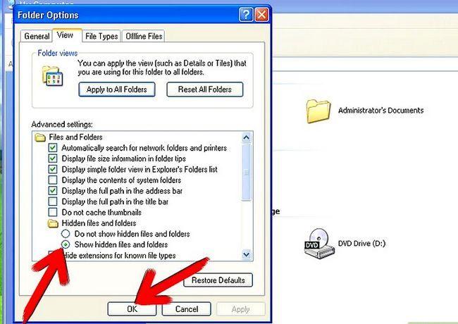 Prent getiteld Aktiveer versteek lêers en dopgehou in Windows Stap 6