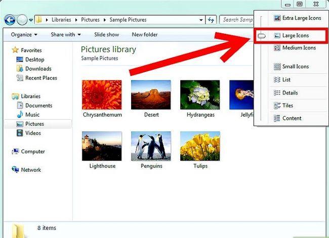 Prent getiteld Miniatuurweergawe aanskakel vir prente in Windows 7 Stap 1