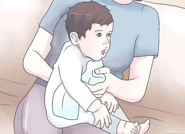 Prent getiteld Burp a Sick Baby Stap 2