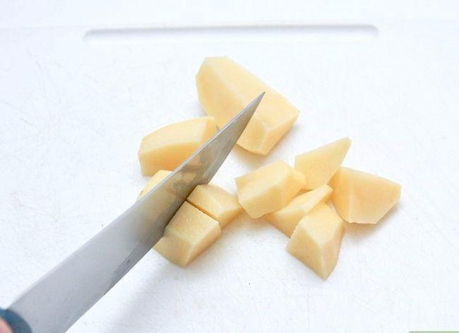 Prent getiteld Maak Aartappelsoep. Stap 1