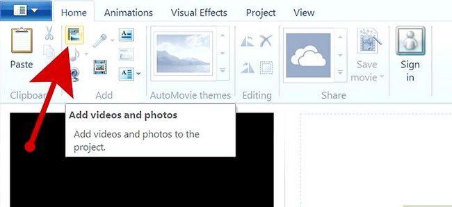 Prent getiteld Maak `n kommersiële gebruik Windows Movie Maker Stap 3