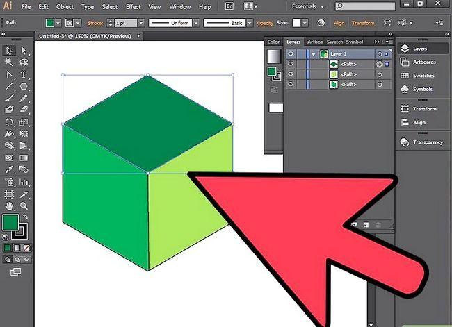 Prent getiteld Maak `n kubus in Adobe Illustrator Stap 17