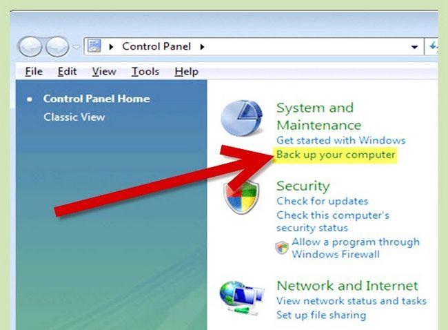 Prent getiteld Rugsteun u rekenaar in Windows Vista Stap 2