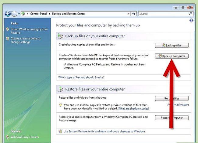 Beeld getiteld Rugsteun u rekenaar in Windows Vista Stap 3