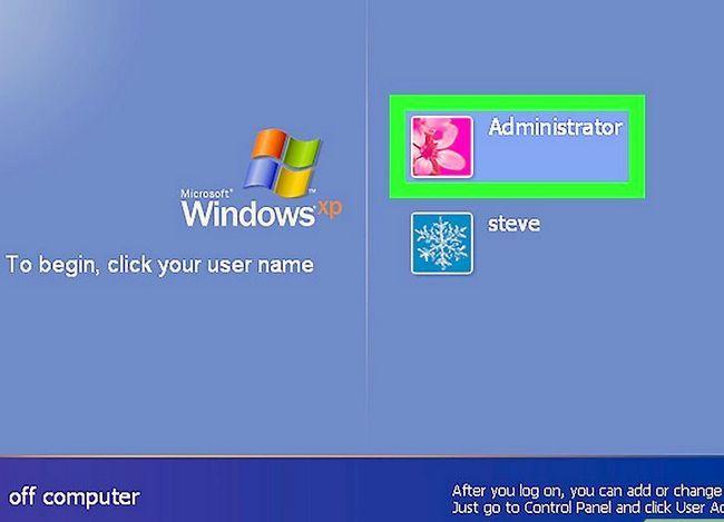 Beeld getiteld Teken aan op Windows XP Gebruik die verstek Blank administrateur wagwoord Stap 5
