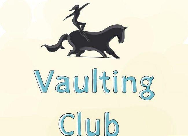 Prent getiteld Begin Vaulting op Horseback Stap 1