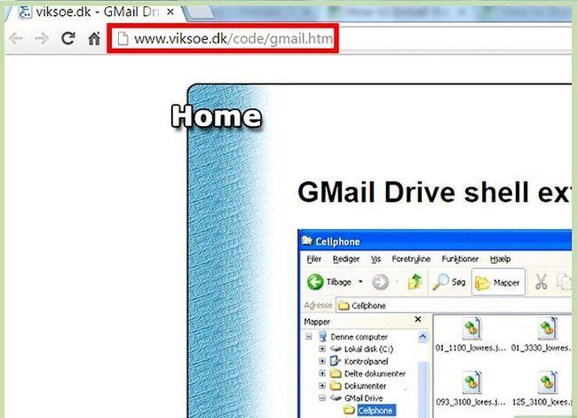 Prent getiteld Installeer die Gmail Drive Stap 1