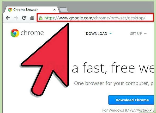 Prent getiteld Aflaai en installeer Google Chrome Stap 1