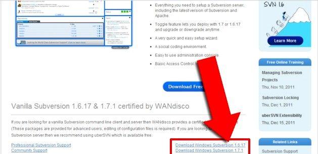 Prent getiteld Installeer Subversion Binaries op Windows Stap 1