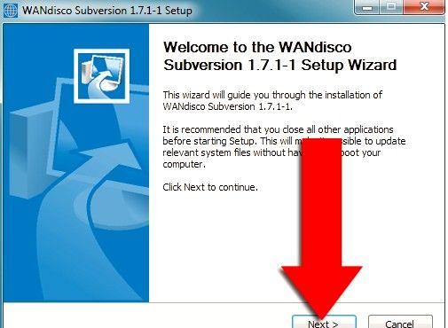 Prent getiteld Installeer Subversion Binaries op Windows Stap 2
