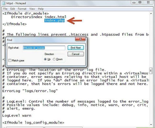 Prent getiteld Php 5.2.5 en Apache 2.2.8 installeer en instel in Windows Vista Stap 5Bullet5