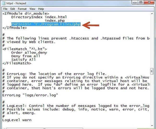 Prent getiteld Php 5.2.5 en Apache 2.2.8 installeer en instel in Windows Vista Stap 5Bullet6