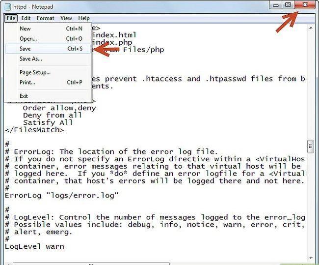 Prent getiteld Php 5.2.5 en Apache 2.2.8 installeer en instel in Windows Vista Stap 5Bullet7