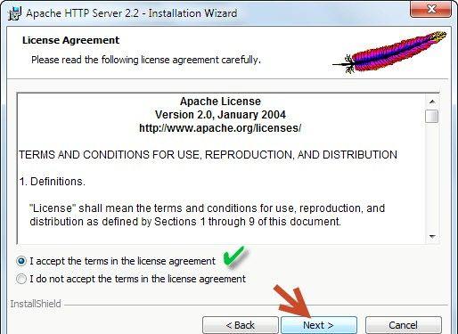 Prent getiteld Php 5.2.5 en Apache 2.2.8 installeer en instel in Windows Vista Stap 2Bullet3