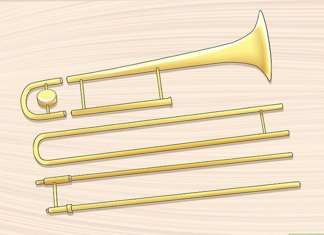 Prent getiteld Reinig enige reeks Trombone Stap 1