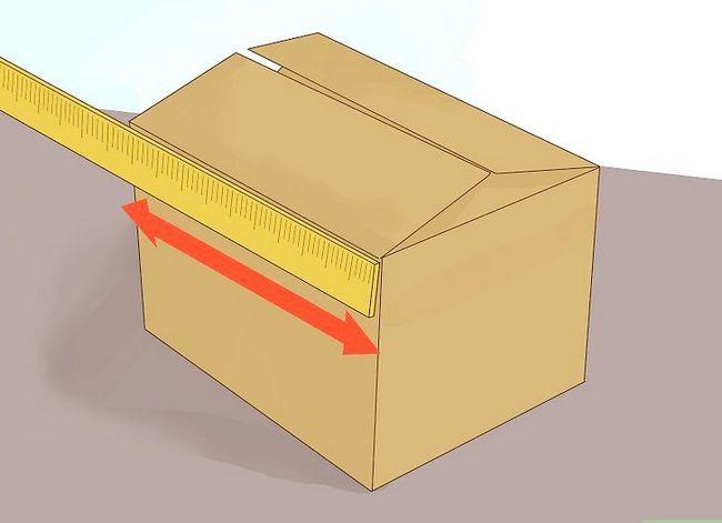 Prent getiteld Meet die lengte x breedte x hoogte van die skeepsverpakking Stap 1