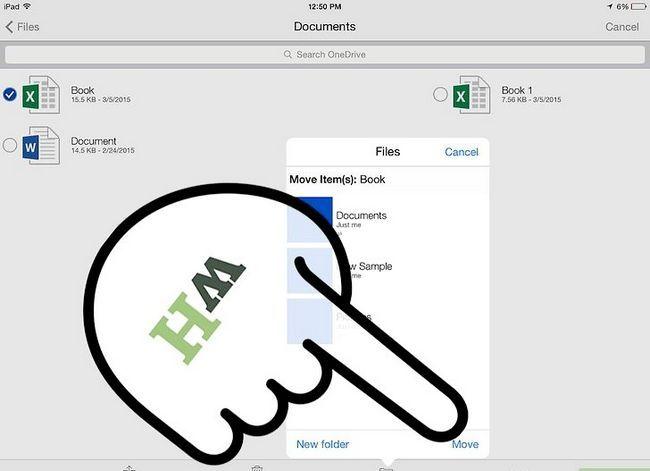Beeld getiteld Skuif lêers binne OneDrive op iOS Stap 14