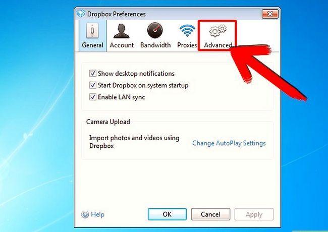 Prent getiteld Skuif die Dropbox gids na `n nuwe ligging Stap 3