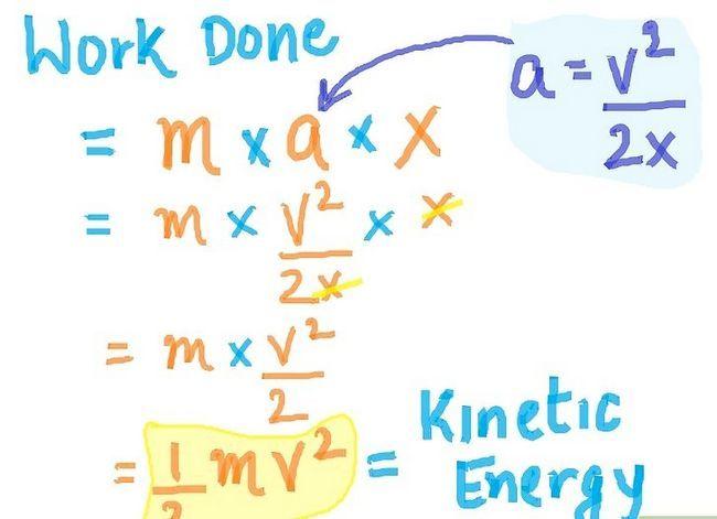 Prent getiteld Lei Kinetiese Energie Formule Stap 4