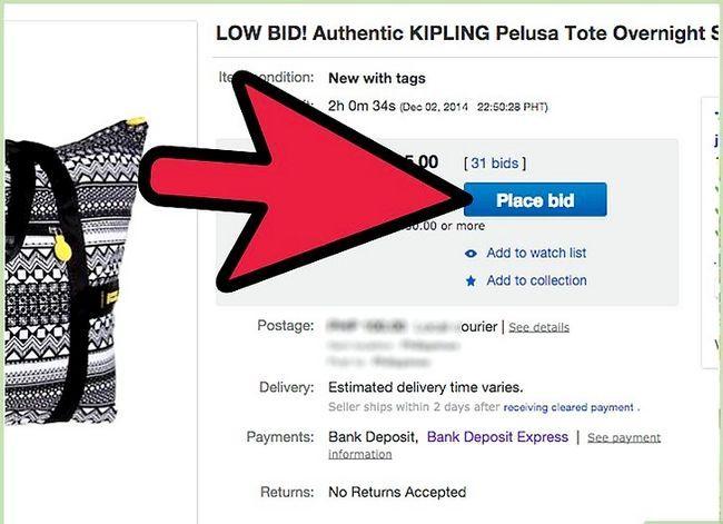 Beeld getiteld bod op eBay Stap 3