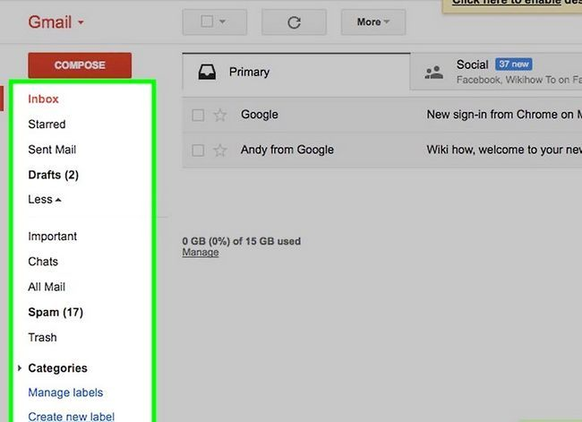 Prent getiteld Organiseer jou Gmail-inkassie Stap 1