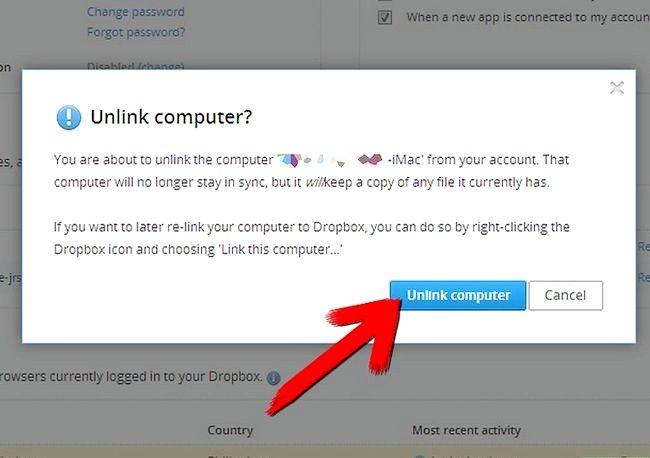 Prent getiteld Ontkoppel na rekenaar vanaf `n Dropbox-rekening Stap 5
