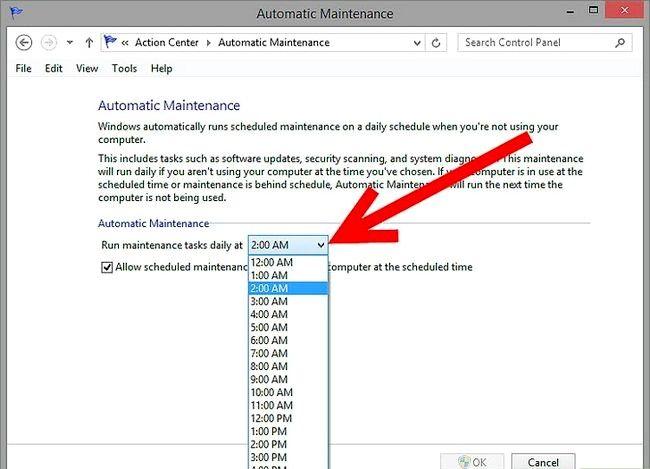 Prent getiteld Geskeduleerde instandhouding uitvoer in Windows 8 Stap 3