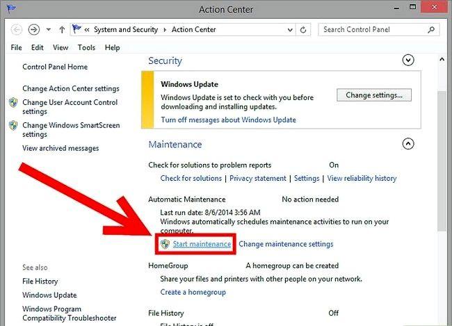 Prent getiteld Geskeduleerde instandhouding uitvoer in Windows 8 Stap 4