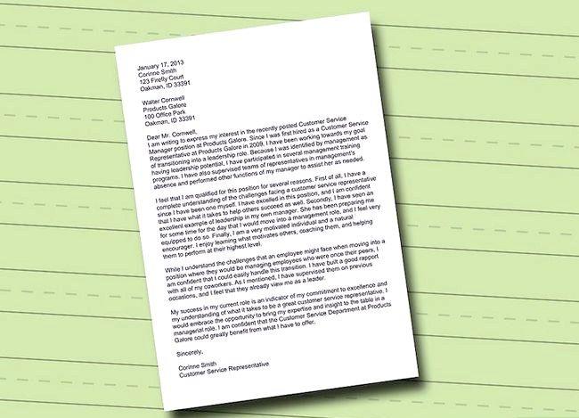 Prent getiteld Skryf `n Brief van Belang vir `n Promosie Stap 1